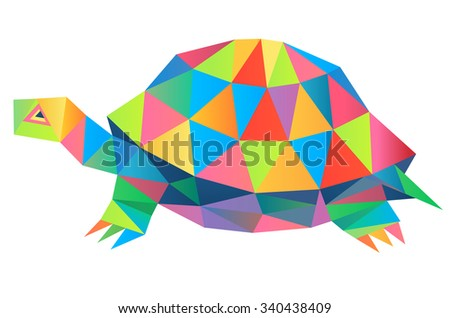 Tortoise geometric (illustration of a many triangles) - stock photo