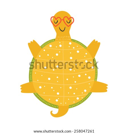 Tortoise relaxing in sunglasses on sun, cartoon turtle, happy tortoise isolated on white background