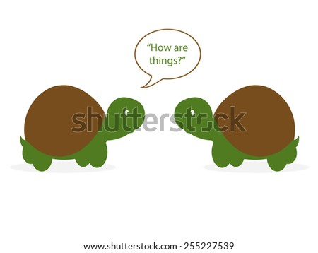 "Tortoises - ""How are things?"" - stock photo"
