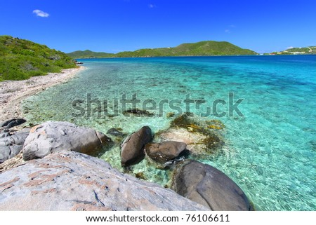 Tortola of the British Virgin Islands on a beautiful sunny day - stock photo