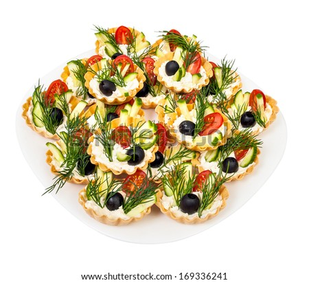 tortoletka with vegetables and cream - stock photo