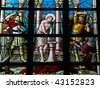 Torture of Jesus, Leaded glass window in church of Alsemberg, Belgium, made in 1895 - stock photo
