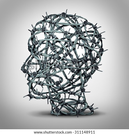 Tortured thinking and depression concept as a group of tangled barbwire or barbed wire fence shaped as a human head as a metaphor for psychological or psychiatric suffering or oppression. - stock photo