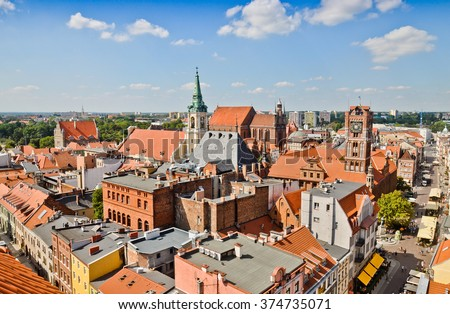 Torun - birthplace of the astronomer Nicolaus Copernicus. From left: Holy Spirit church, The Cathedral and Town hall - stock photo