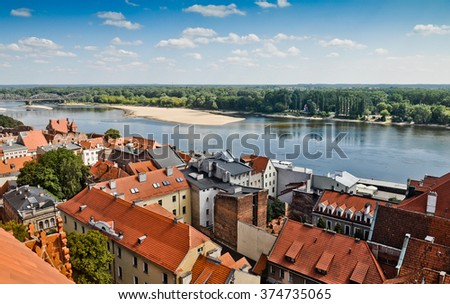 Torun - birthplace of the astronomer Nicolaus Copernicus. View on old town and Vistula river - stock photo