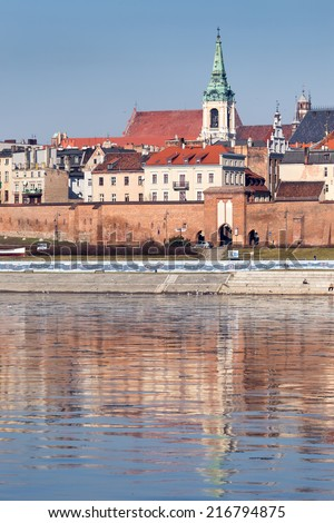 Torun -City viewing themselves in the river - stock photo