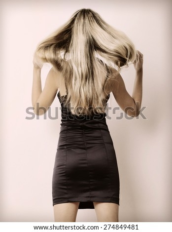 Tossing hair - stock photo