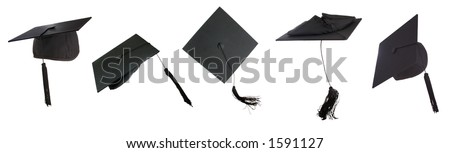 Tossing of 5 mortar boards  -clipping paths individually or all together - stock photo