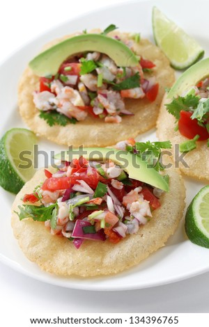 tostadas de ceviche, mexican food - stock photo