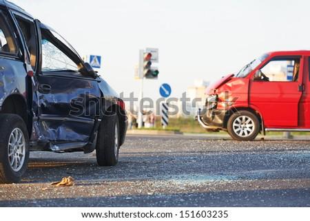 Total car crash smash accident in city road lane - stock photo