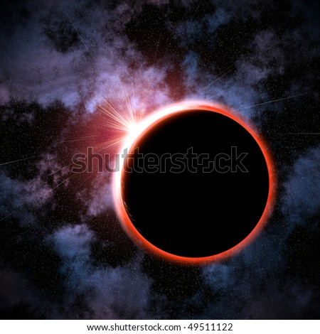 total eclipse on a star background - stock photo