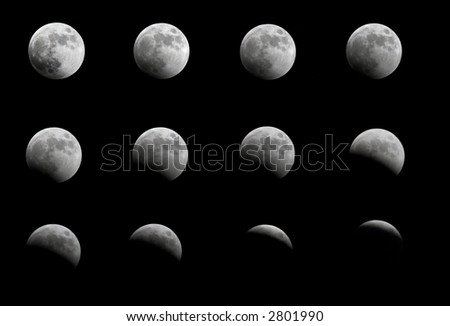 Total Lunar Eclipse, Cantral Europe 03/03/2007 - stock photo
