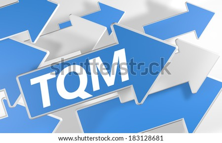 Total Quality Management 3d render concept with blue and white arrows flying over a white background. - stock photo