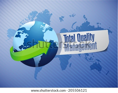 total quality management globe sign illustration design over a blue background