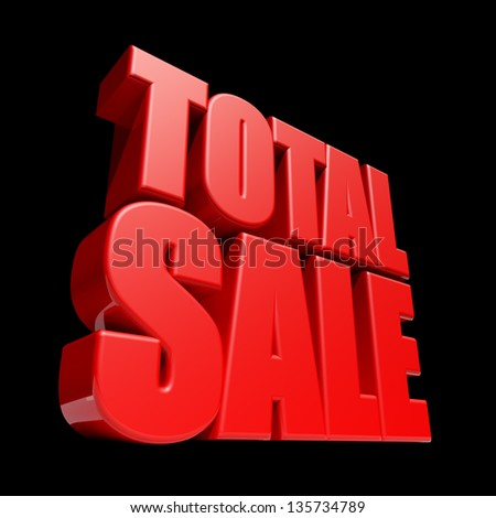 Total Sale 3D letters render isolated on black background.