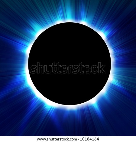 Total solar eclipse in outer space - stock photo
