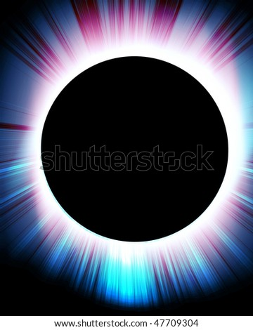 total solar eclipse on a dark black background - stock photo