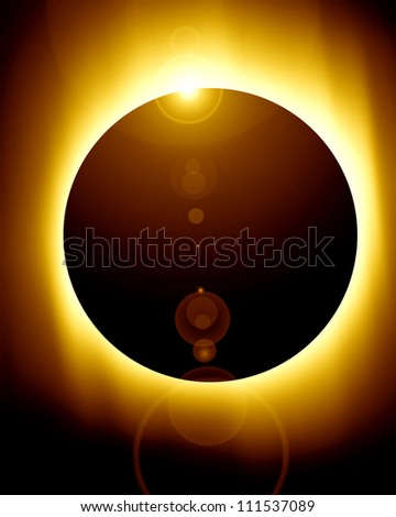 total solar eclipse with some soft rays of lights - stock photo