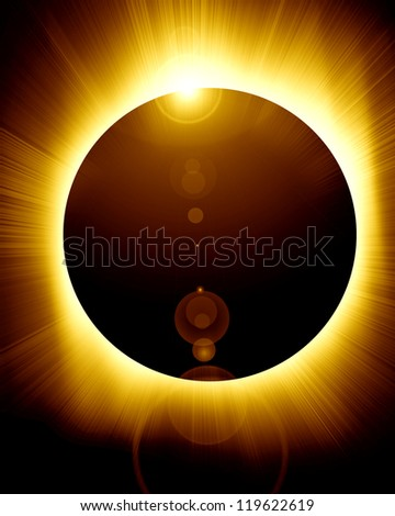 total solar eclipse with some soft rays of lights