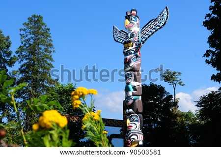 Totem in Stanley Park Vancouver, Canada - stock photo