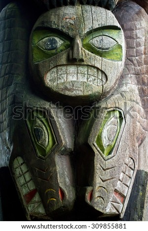 Totem Pole, North Vancouver, Canada - stock photo