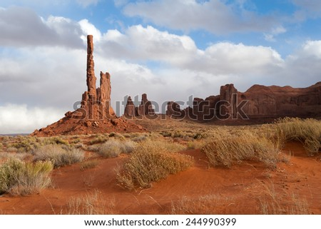 Totem pole rock formation in Monument Valley, USA - stock photo