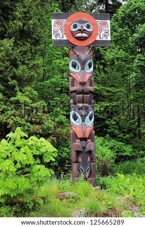 Totem pole. Vancouver. British Columbia. Canada. - stock photo