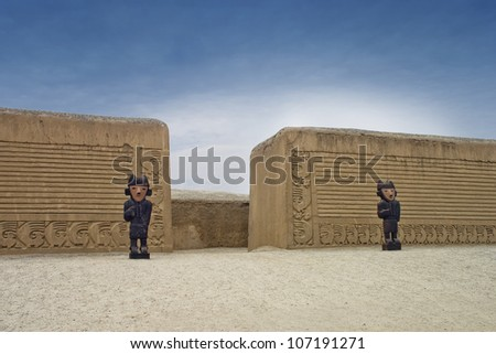 Totems from Inca period of Peru at ancient city of Chan Chan. - stock photo
