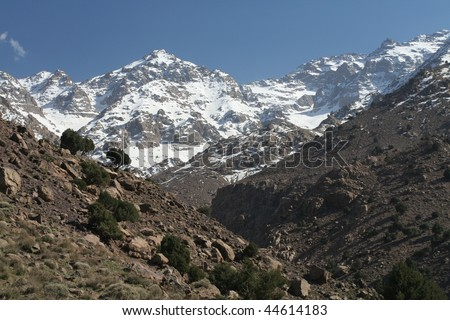 Toubkal - highest mountain peak of Atlass mountains Morocco, Africa - stock photo