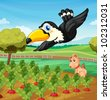 Toucan and a dog in a farm - EPS VECTOR format also available in my portfolio. - stock photo