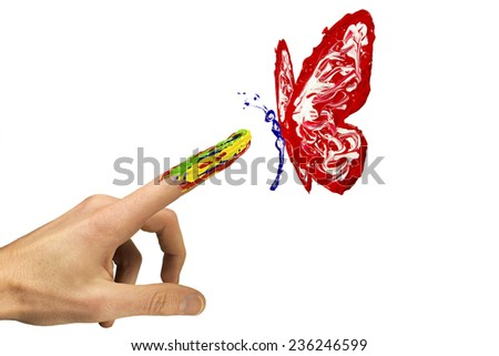Touch between painted finger and painted red butterfly - stock photo