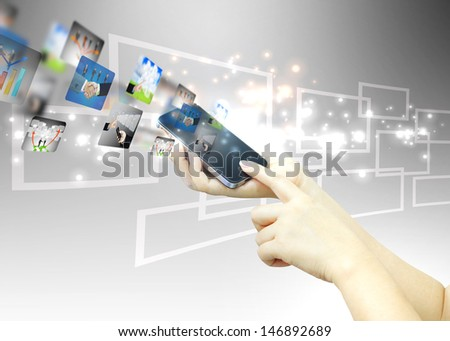 Touch button interface.business concept