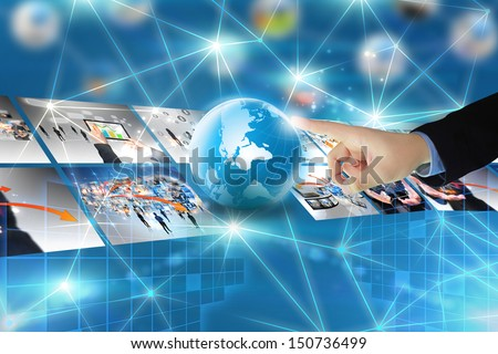 Touch button interface.technology connectivity concept  - stock photo
