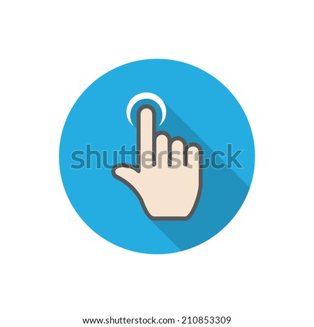 touch. flat hand icon pointer. - stock photo