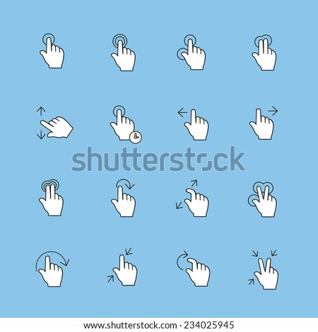 Touch Gestures Icons set, thin line,  modern  collection - stock photo