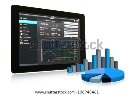 Touch pad showing financial data with 3D chart and graph - stock photo
