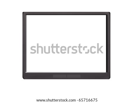 Touch pad with e book text on screen isolated on white - stock photo