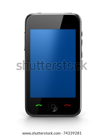 Touch Phone with blue screen front view - stock photo