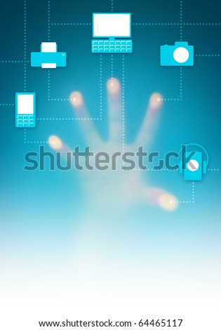 Touch-screen digital interface with icons of connected electronic devices - stock photo