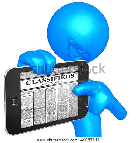 Touch Screen Employment Classifieds - stock photo