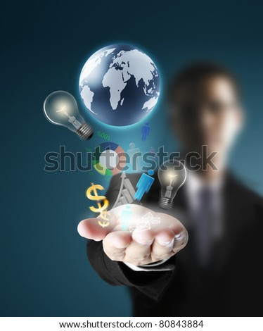 Touch screen,hands - stock photo