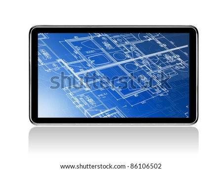 Touch Screen Home Construction Blueprints - stock photo