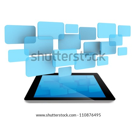 touch screen interface and tablet computer, isolated on white background