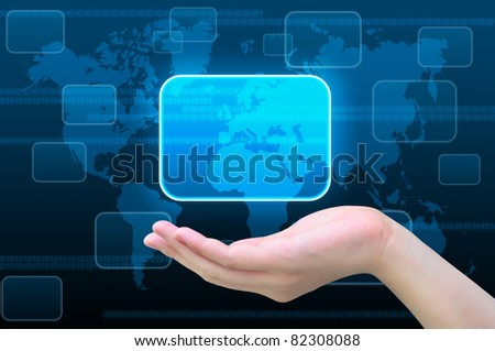 touch screen interface on women hand - stock photo