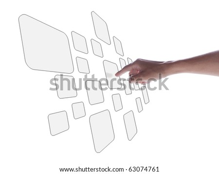 touch screen interface white - stock photo