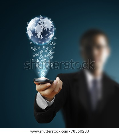 Touch screen mobile phone - stock photo