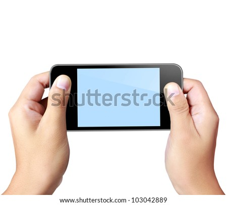 Touch screen mobile phone, in hand - stock photo