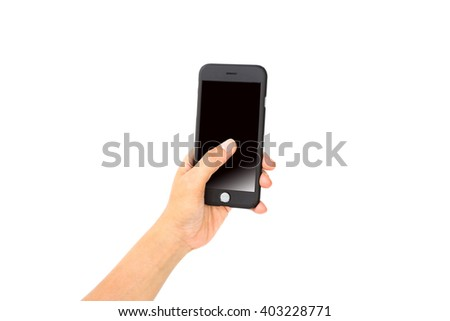 Touch screen mobile phone, in hand.