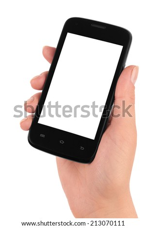 Touch screen mobile phone in hand isolated on white background  - stock photo