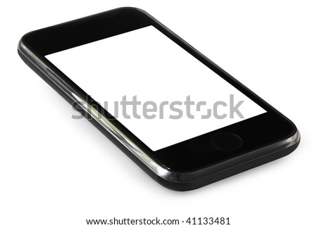 Touch screen mobile phone, isolated on white.  Clipping path included.